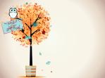 fall leaves owl teal 1